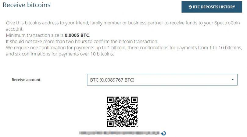 Adresse de réception Bitcoin avec SpectroCoin