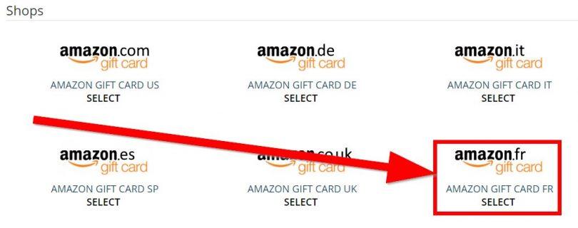 Choix de cartes-cadeaux sur Amazon