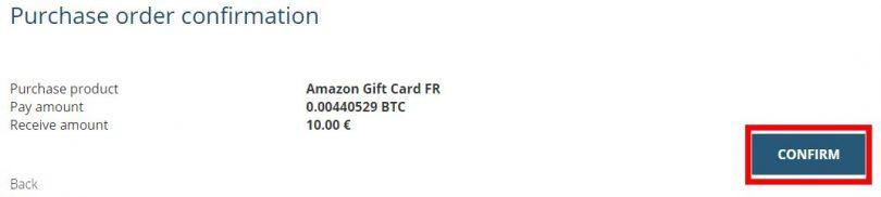 Confirmation de la carte-cadeau Amazon
