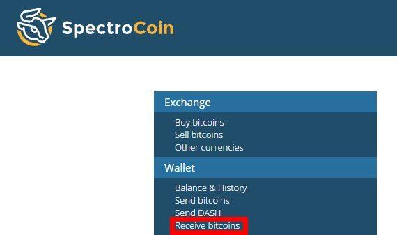 Recevoir des Bitcoins sur son compte Spectrocoin