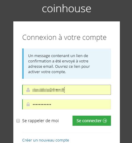 Le mail de confirmation CoinHouse a été envoyé