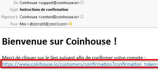 Instructions pour la confirmation d'un compte sur coinhouse