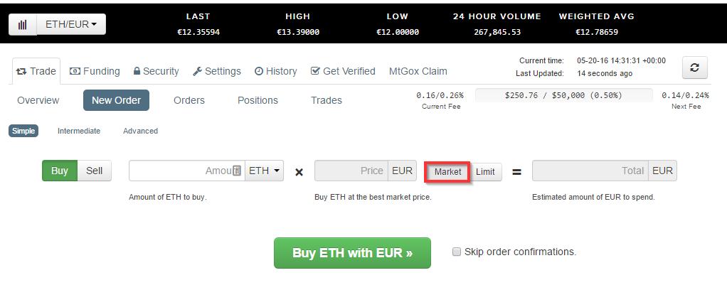 Acheter des ethers à partir d'euros sur Kraken