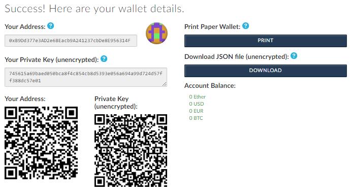Details d'un wallet EThereum