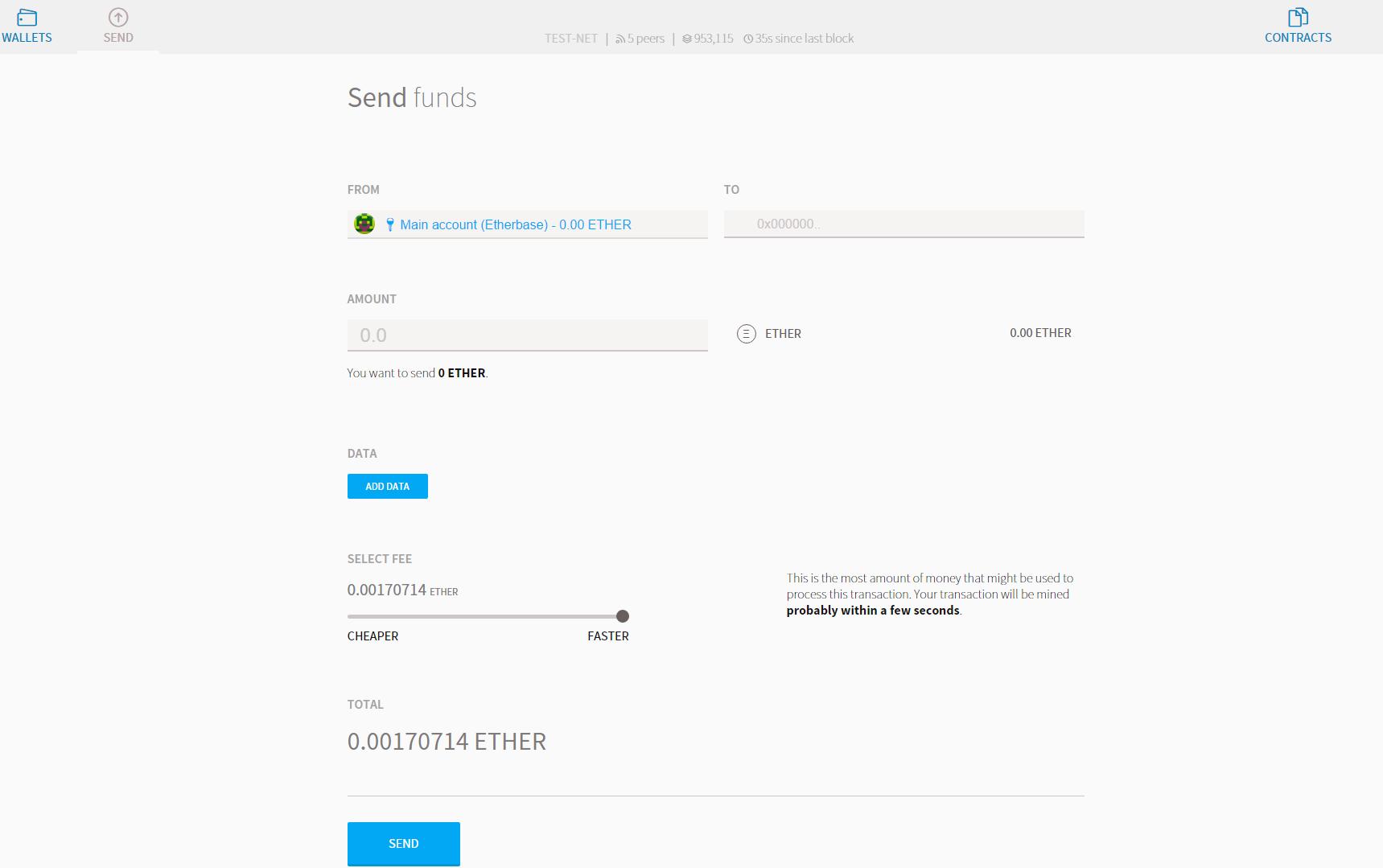 L'envoi de fonds à partir d'un wallet ethereum sous mist