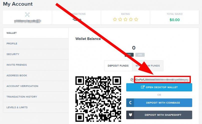 Adresse d'un portefeuille Bitcoin sur Purse.io