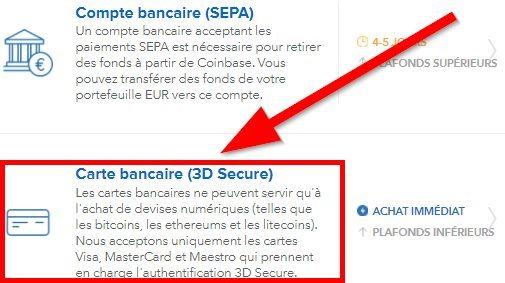 Ajout carte bancaire 3D-secure avec Coinbase pour l'achat de Litecoin