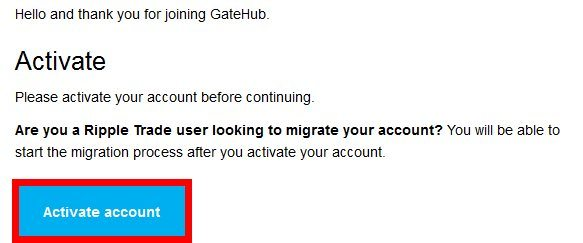 E-mail de confirmation GateHub