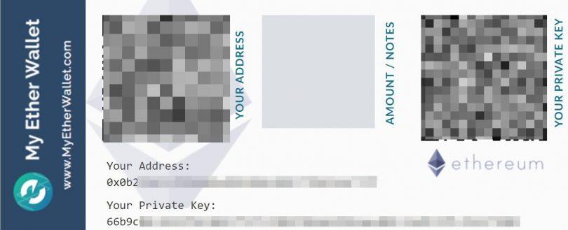 Impression clés portefeuille Ethereum