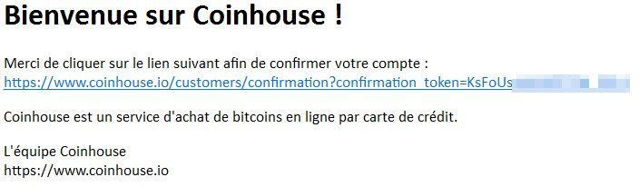 Message de confirmation Coinhouse