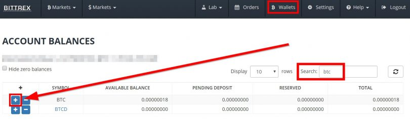 Accès au Wallet Bitcoin de Bittrex