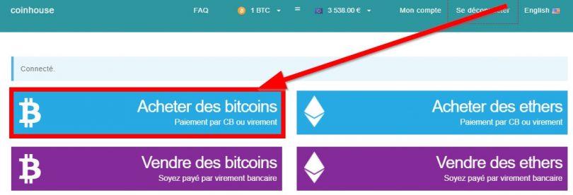 Achat de Bitcoin sur Coinhouse