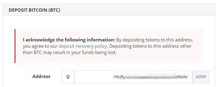 Déposer de la crypto-monnaie sur Bittrex