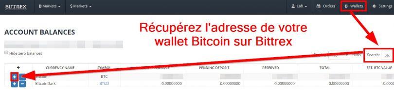 Récupérer adresse wallet Bitcoin plateforme d'échange