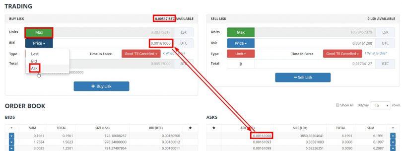 "Trading Lisk Bitcoin sur Bittrex au prix ""Ask"""