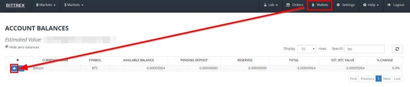 Wallet Bitcoin sur Bittrex