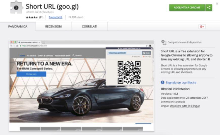 Extension short URL goo.gl