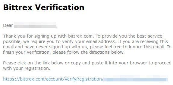 Vérification d'adresse mail sur Bittrex
