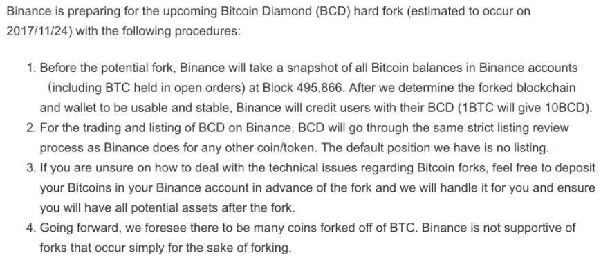 Annonce Binance concernant Bitcoin Diamond