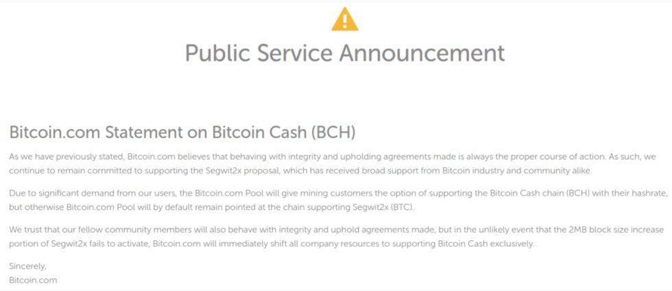 Annonce Bitcoin.com Bitcoin Cash