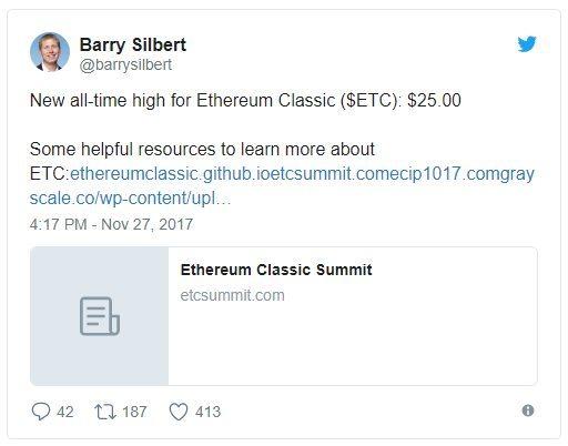 Barry Silber s'exprime sur Twitter au sujet d'Ethereum Classic ETC