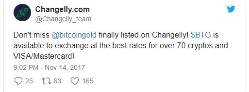 Changelly Bitcoin Gold