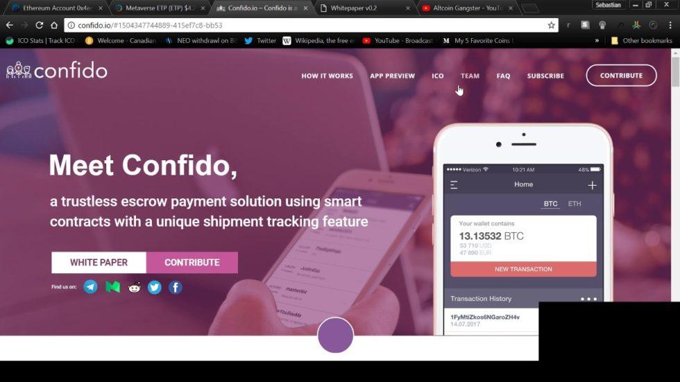 ICO de Confido - page d'accueil