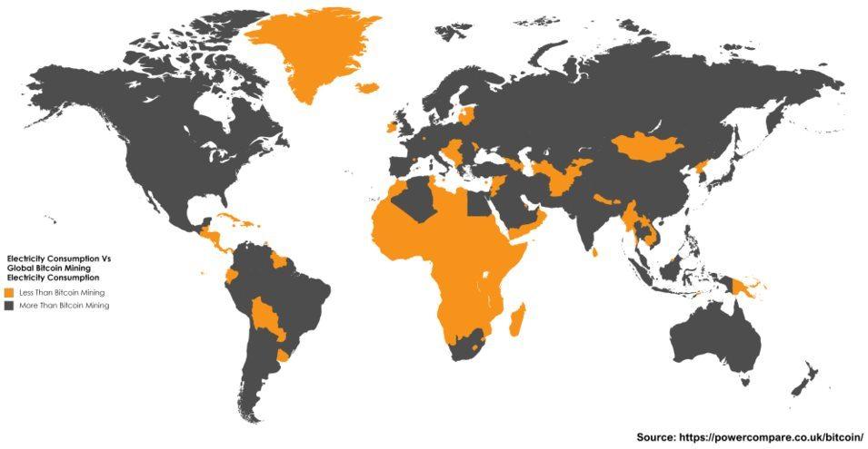 Consommation liée au minage de Bitcoin par rapport à celle des pays du monde