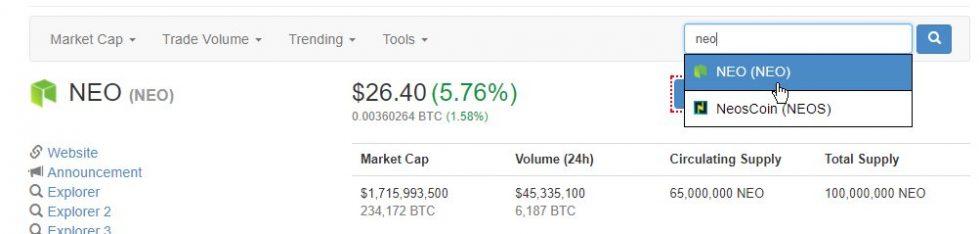 Crypto-monnaie sur CoinMarketcap