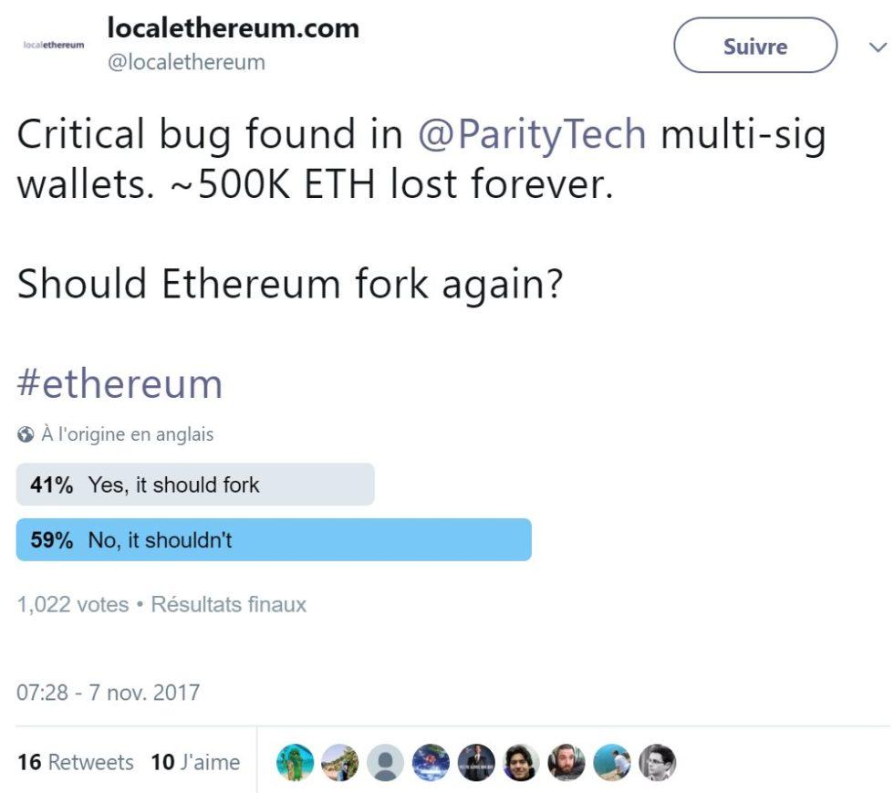 Ethereum hard fork sondage novembre