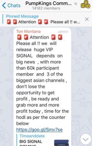 Annonce du groupe Telegram