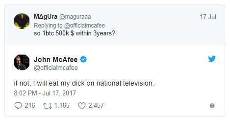 John McAfee Bitcoin 500 000 dollars