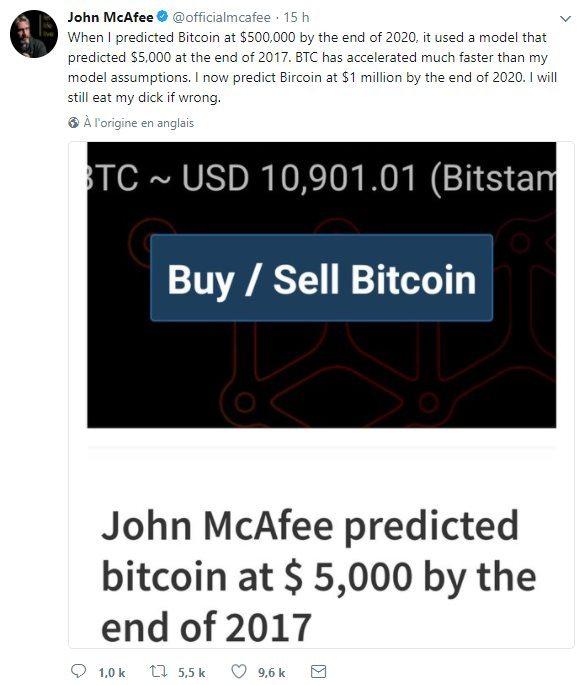 John McAfee prédiction prix bitcoin 1 million de dollars