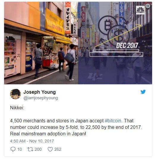 Joseph Young explique que les marchands sont de plus en plus nombreux au japon accepter les paiements en Bitcoin