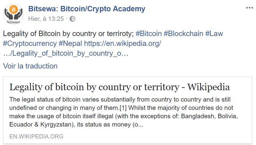 La légalité du Bitcoin en fonction des territoires, relayée par Bitsewa