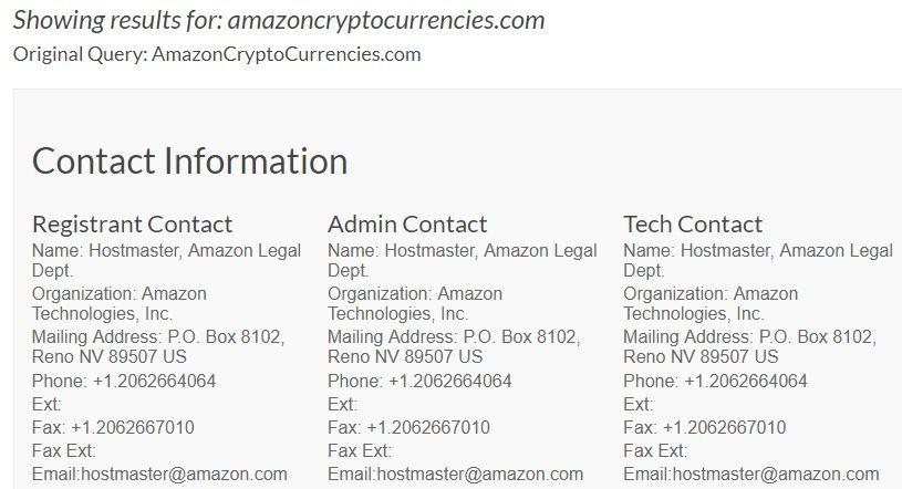 Nom de domaine crypto-monnaies Amazon