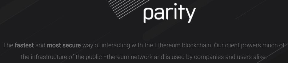 Page d'accueil de parity