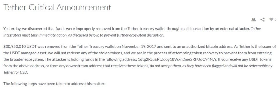 Piratage de Tether