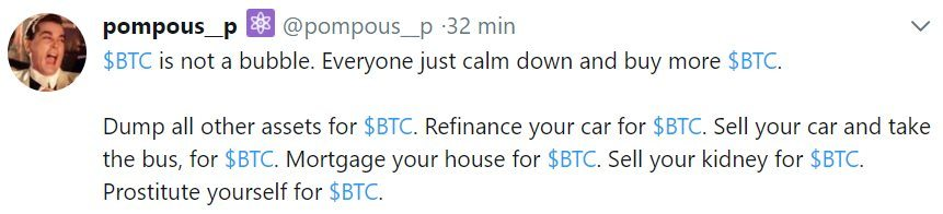 Pompous tweet pro Bitcoin
