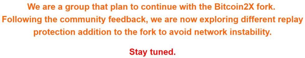 Poursuite du fork SegWit2x sur le site Bitcoin2x