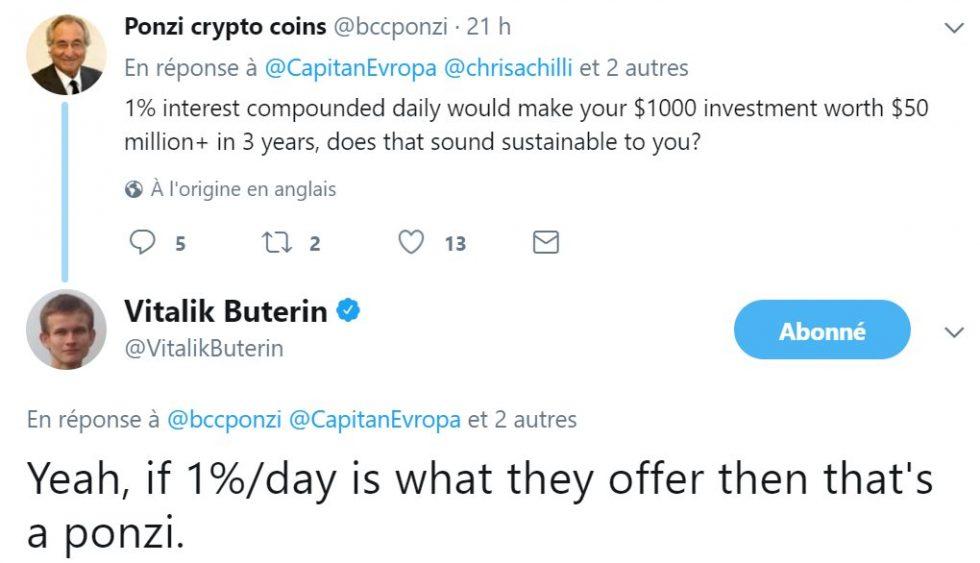 La réponse de Vitalik Buterin sur Twitter au sujet de Bitconnect