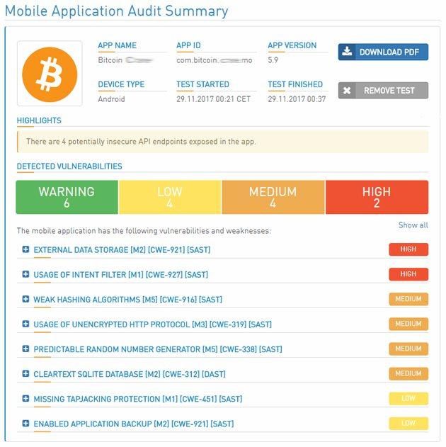 Sécurité application mobile Crypto-monnaies