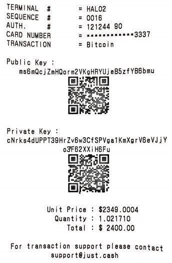 Ticket de caisse Bitcoin
