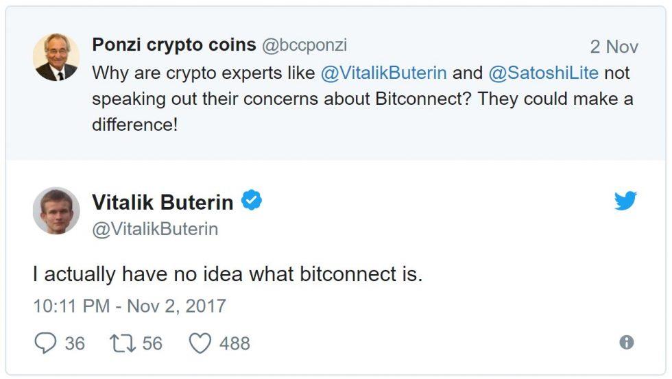 Vitalik Buterin ignore l'existence de Bitconnect