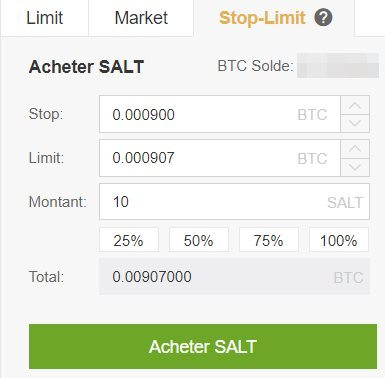 Achat Stop Limit Binance