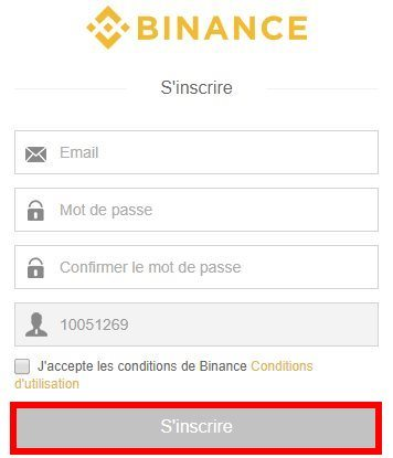 Bouton inscription plateforme Binance