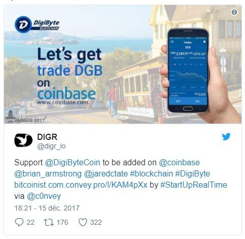 Coinbase ajout Digibyte DGB