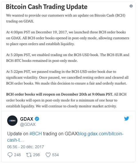 Mise à jour Bitcoin Cash GDAX