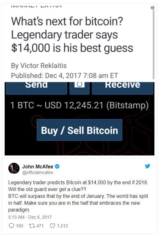 Twitter John Mcafee Bitcoin à 14 000 dollars