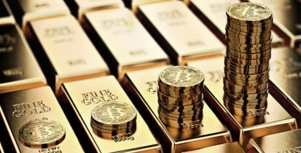 Lingots d'or et Bitcoin